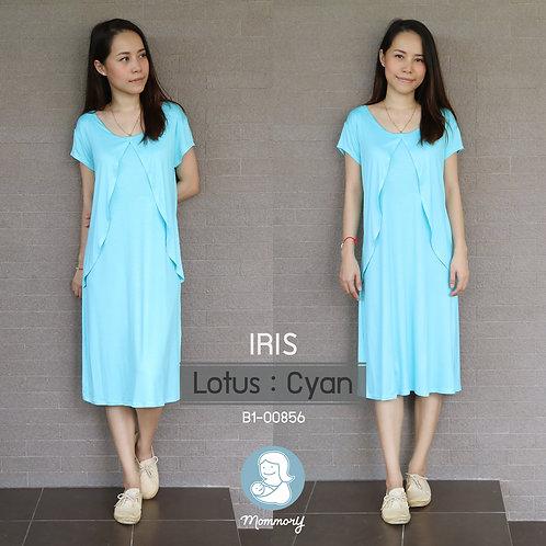 Iris (Lotus : Cyan) - เสื้อให้นม/ชุดให้นม แบบแหวก