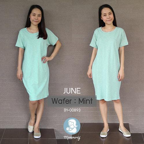 June (Wafer : Mint) - เสื้อให้นม/ชุดให้นม แบบแหวก