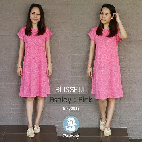 Blissful (Ashley : Pink) - เสื้อให้นม/ชุดให้นม แบบแหวก
