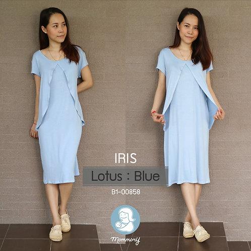 Iris (Lotus : Blue)  - เสื้อให้นม/ชุดให้นม แบบแหวก