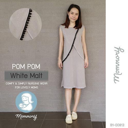 Pom Pom (White Malt)  - เสื้อให้นม/ชุดให้นม แบบแหวก