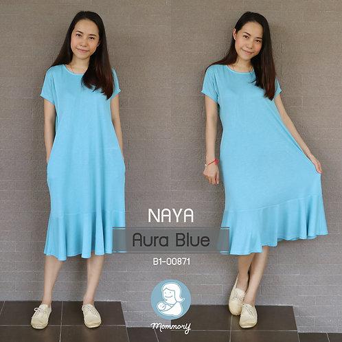 Naya (Aura Blue) - เสื้อให้นม/ชุดให้นม แบบแหวก