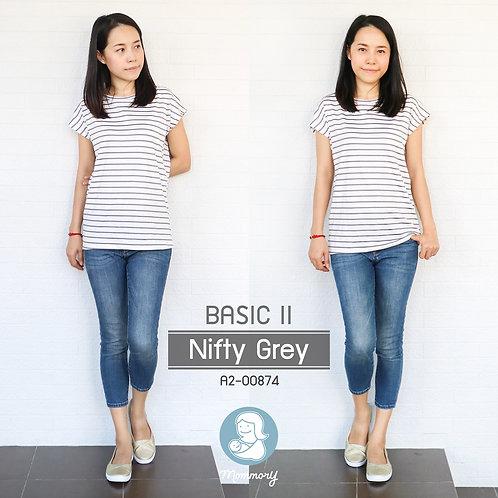 Basic II (Nifty Grey) - เสื้อให้นม แบบแหวกข้าง