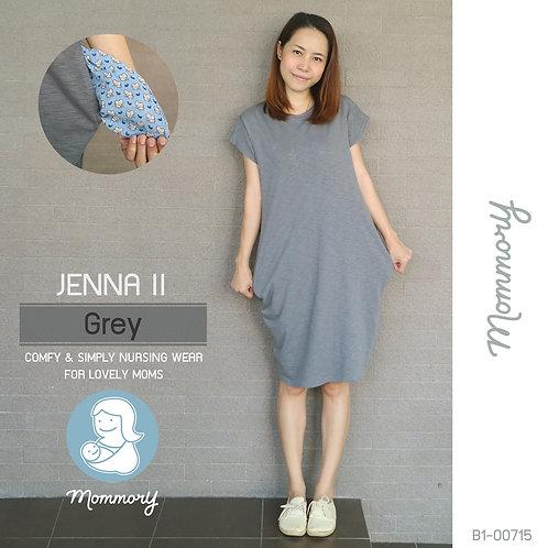 Jenna II (Grey) - เสื้อให้นม/ชุดให้นม แบบแหวก
