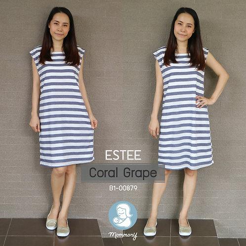 Estee (Coral Grape) - เสื้อให้นม/ชุดให้นม แบบแหวก