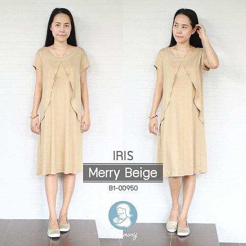 Iris (Merry Beige) - เสื้อให้นม/ชุดให้นม แบบแหวก