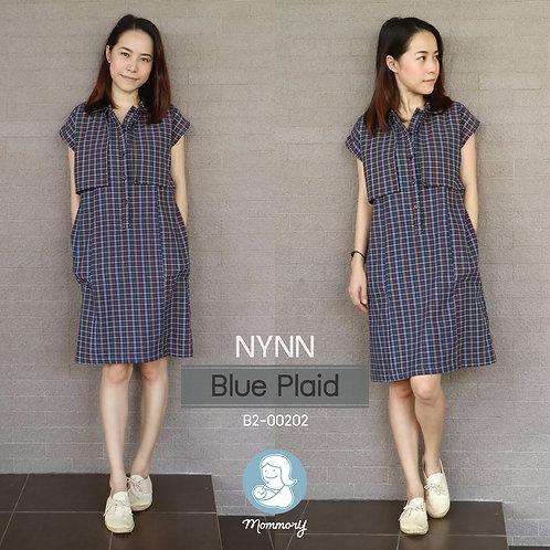 Nynn (Blue Plaid) - ชุดให้นมแบบซิปซ่อน