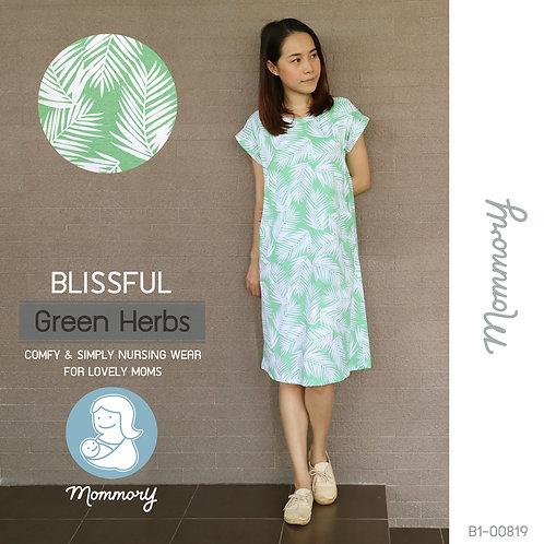 Blissful (Green Herbs) - เสื้อให้นม/ชุดให้นม แบบแหวก