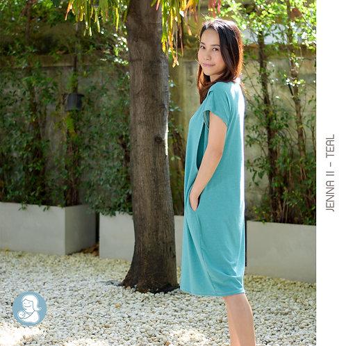 Jenna II (Teal)  - เสื้อให้นม/ชุดให้นม แบบแหวก