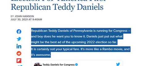 Watch The 'Best GOP Ad' Of 2022 Election For 'America First' Republican Teddy Daniels