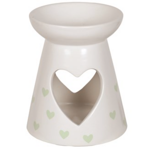 Ceramic Wax Melt Burner Green Hearts