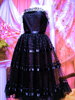 80s Mike Benet Lace and Ribbon Dress