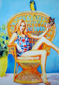 Woman in Peacock chair