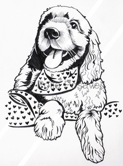 Doodle dog with heart bandana