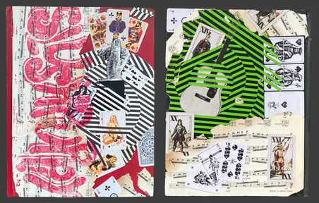 paint, collage, and print from hand-carved rubber block