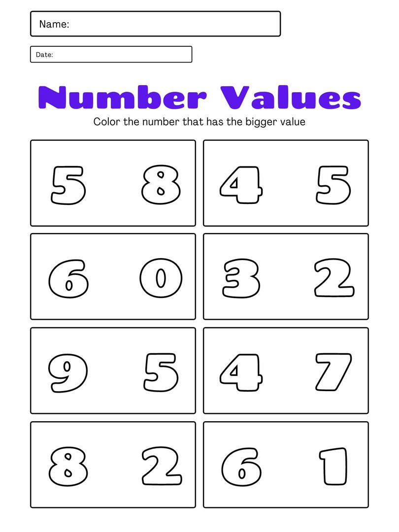 Number Values 3-5 1
