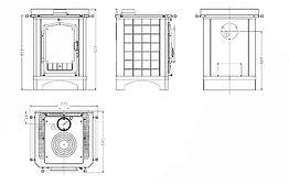 dimensiones cocina de leña Arce Cucinotta fundición