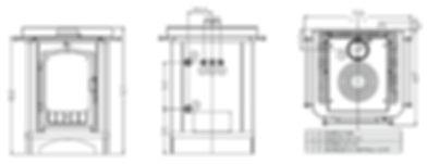 medidas cucinotta Th cocina de leña Arce para agua caliente