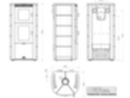 dimensiones medidas estufa leña Arce fundición Ottagono con horno