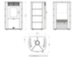 dimensiones estufa lea ottagono Arce fundición
