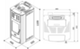 dimensiones estufa pellet hidro lola 540