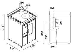 dimensiones cocina de pellet Nina 7 kW con ventilación