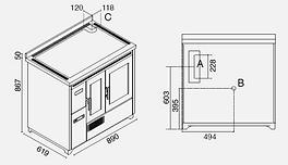 dimensiones cocina de pellet Enrica 9,3 kW con ventilación