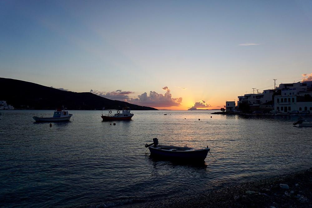 Sunset Amorgos Katapola habour