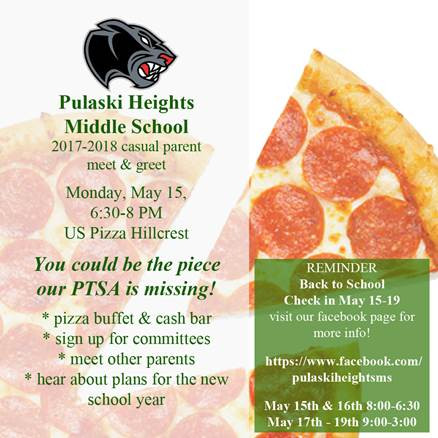 Pulaski Heights Middle School Meet & Greet May 15