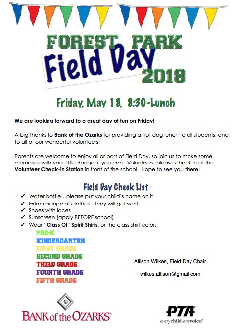 Your Checklist for Field Day, this Friday 8:30-lunch
