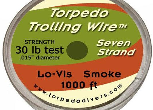 30LB. Torpedo Trolling Wire seven strand 1000ft. Lo-vis smoke
