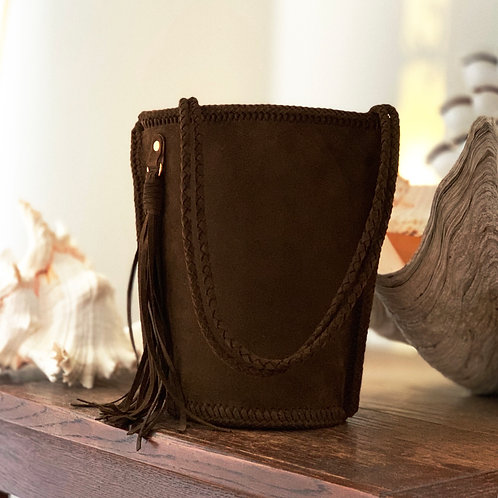 Daily Leather Bucket Bag-Dark Brown