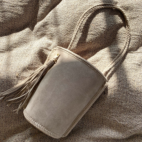 Daily Bucket Leather Bag-Grayish Beige