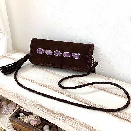 Stick Shoulder/Clutch Leather Bag-Violet
