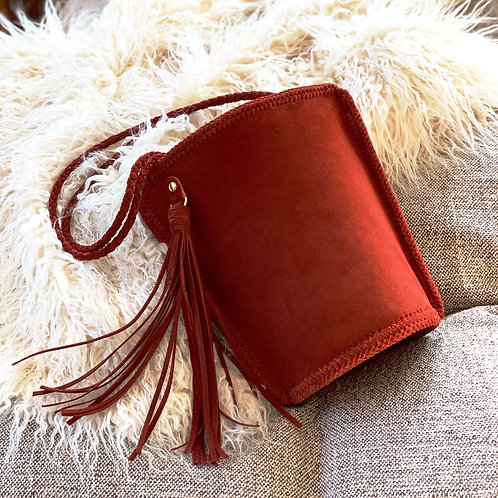 Daily Leather Bucket Bag-Dark Red