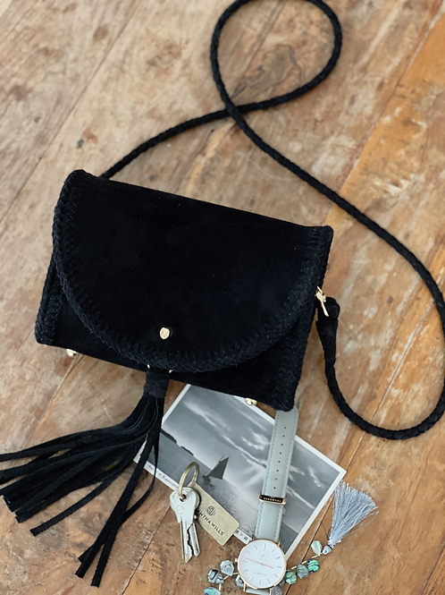 Extra Small Leather Bag-Jet