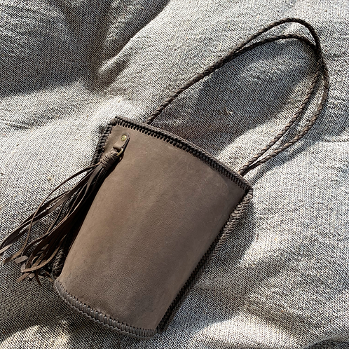 Daily Bucket Leather Bag-Charcoal Brown