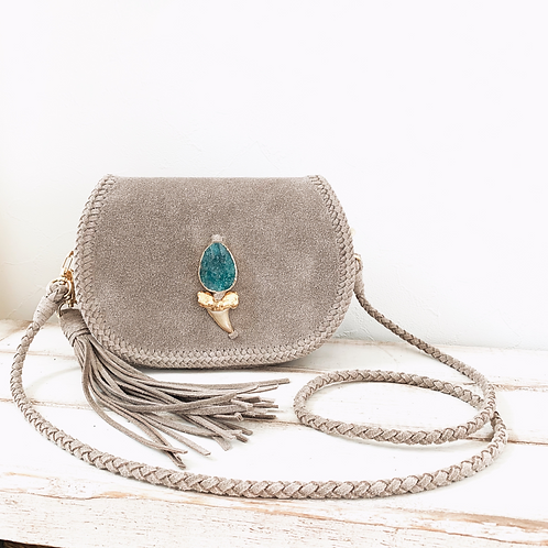 Shark Tooth×Amazonite Pochette-Grayish Beige