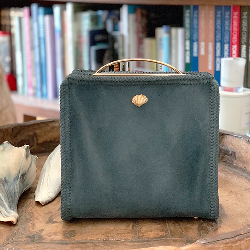 Bar Handle Square Leather Bag
