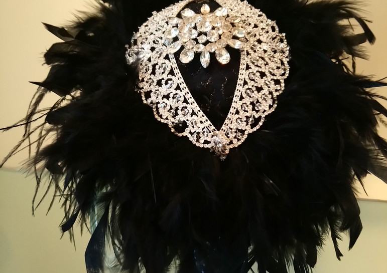 """""""A Formal Occassion"""" Black Feathered Brooch Bouquet"""