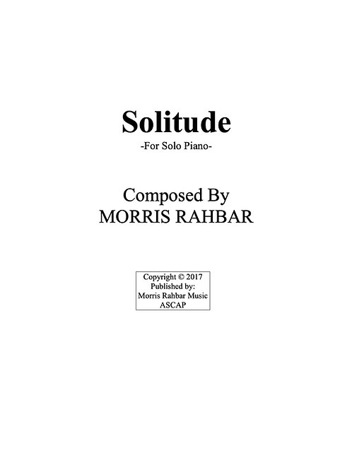 Solitude - Sheet Music