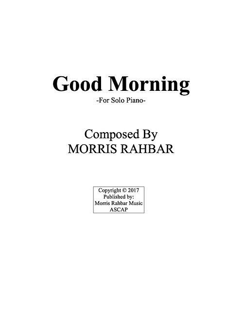 Good Morning - Sheet Music