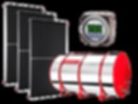 Coletor solar, boiler, resevatório térmico, água quente, economia doméstica