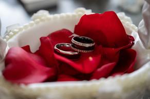 Wedding Rings on rose peddles