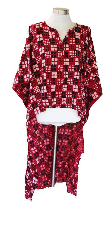 טוניקה חולצאית אדום\בורדו וריבועים