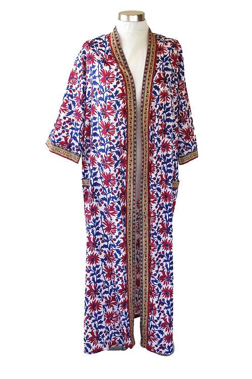 קימונו  ארוך + חגורה פרחים אדום כחול