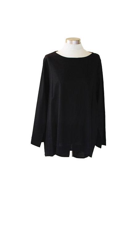 חולצת כותנה שרוול מתרחב - שחורה