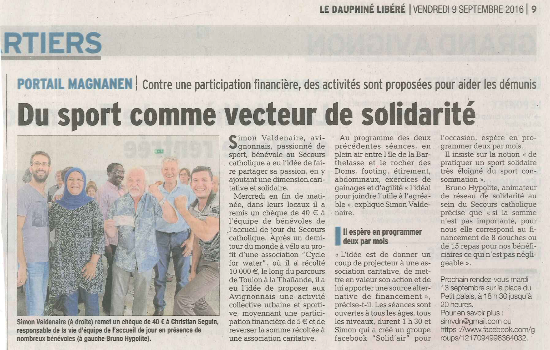 Presse_2016.09.09_Le_Dauphiné_-_Remise_chèque_secours_catholique