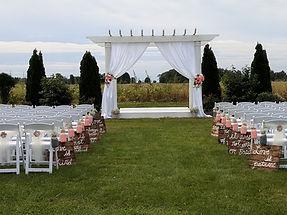 Fabric, Chair Ties, signs and mason jars