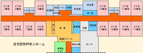 ケアホームあきもと 住宅型有料老人ホームフロアマップ